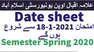 AIOU New Date Sheet Spring 2020 All Programs